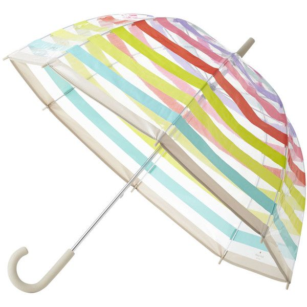 kate spade new york Clear Umbrella - Multi Stripe ($41) ❤ liked on Polyvore featuring accessories, umbrellas, clear, kate spade umbrella, transparent umbrella, print umbrella, see through umbrella and dome shaped umbrella