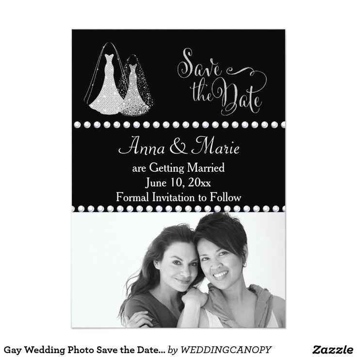 zazzle wedding invitations promo code%0A Gay Wedding Photo Save the Date Silver Card