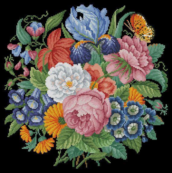 Vintage Embroidery  NeedleWork berlin woolwork pattern retro Multifloral Bouquet Antique Bouquet Cross Stitch PDF Pattern Bouquet with iris