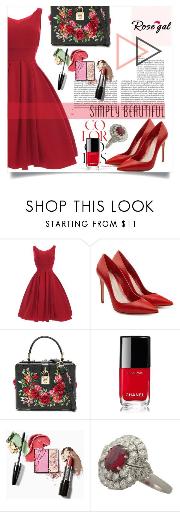 """""""Rosegal Contest"""" by kristina779 ❤ liked on Polyvore featuring Alexander McQueen, Dolce&Gabbana, Chanel and Whiteley"""