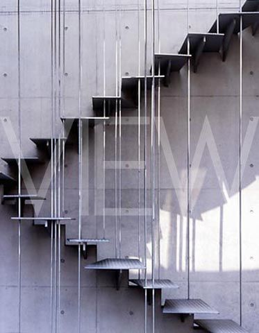 Wire and steel staircase