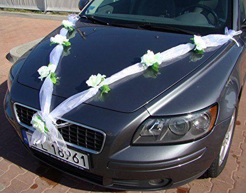 ORGANZA M Auto Schmuck Braut Paar Rose Deko Dekoration Autoschmuck Hochzeit Car Auto Wedding Deko Girlande PKW (Reinweiß / Weiß)