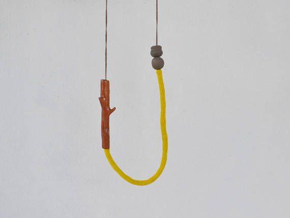 Ceramic twig necklace ceramic jewelry long crochet necklace