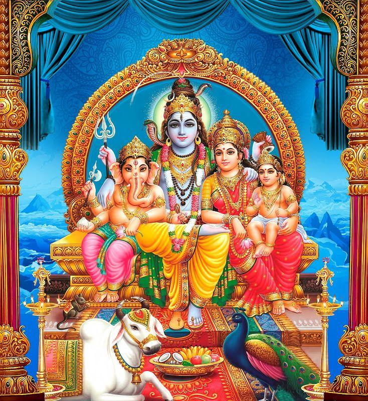 Lord Shiva Parvathi Ganesha Kartikeya Sitting Hd Wallpaper Free