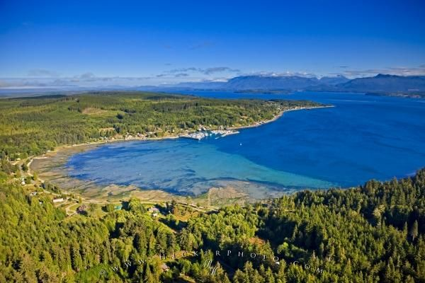 aerial view of Sointula on Malcolm Island, Rough Bay and the Broughton Strait, British Columbia, Canada