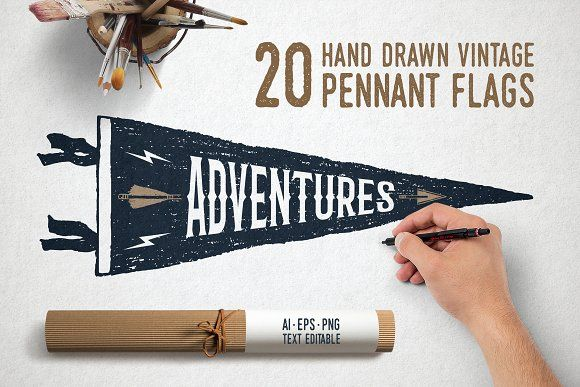 20 Hand Drawn Pennant Flags by Cosmic Store on @creativemarket