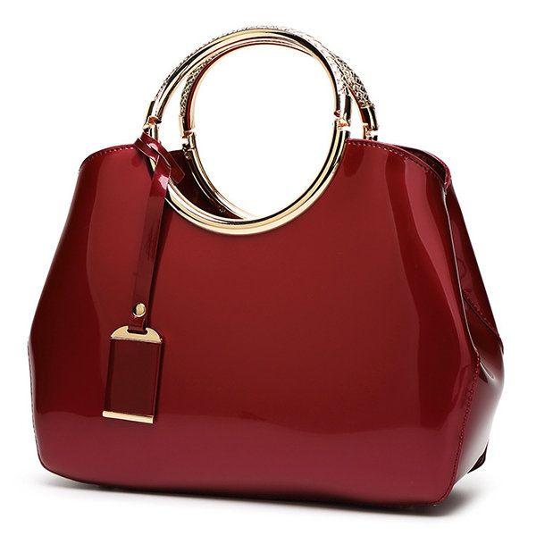 Bagail Women Bright PU Leather Elegant Red Handbag Shoulder Bag