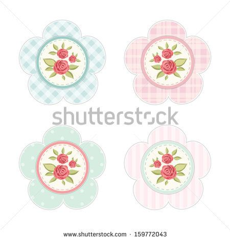 Vintage labels with roses in shabby chic style for scrap booking or as sale tags for prices or cupcake toppers isolated on white - stock vector