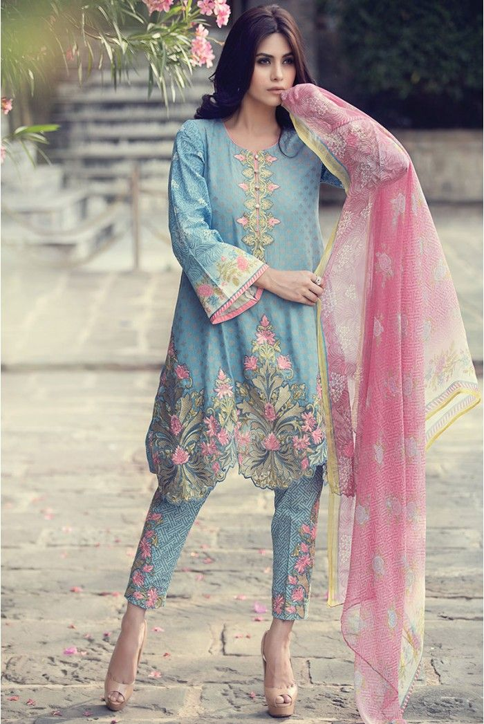 Unstitched Lawn Blue D-206 - Maria.B