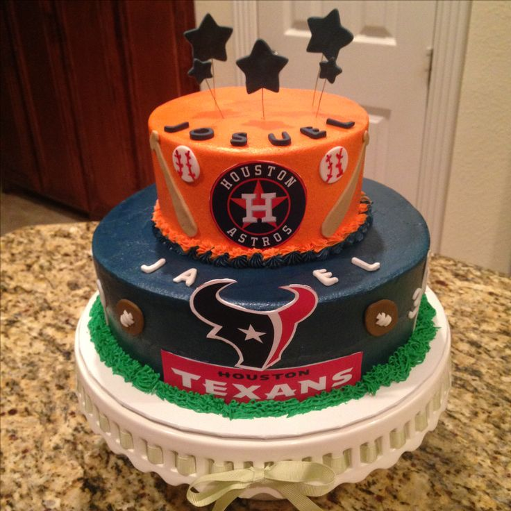 Houston Astros and Texans cake.  https://www.facebook.com/sweetnsassycakesbyeva