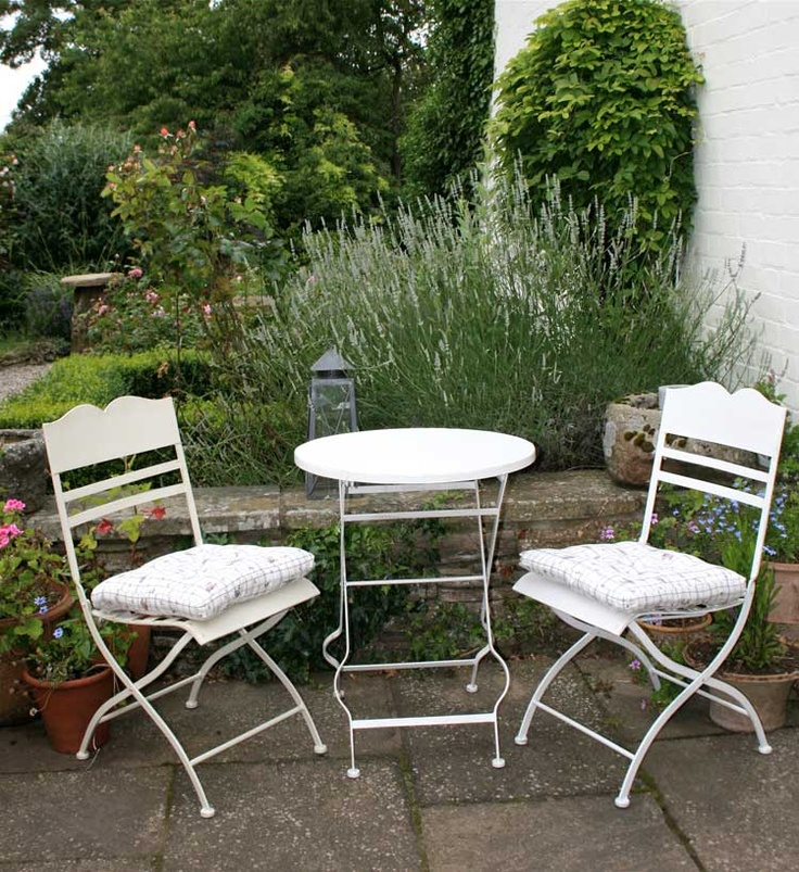 Café Set - a delightful small set of table and two chairs for a courtyard, terrace or conservatory, painted in country cream.