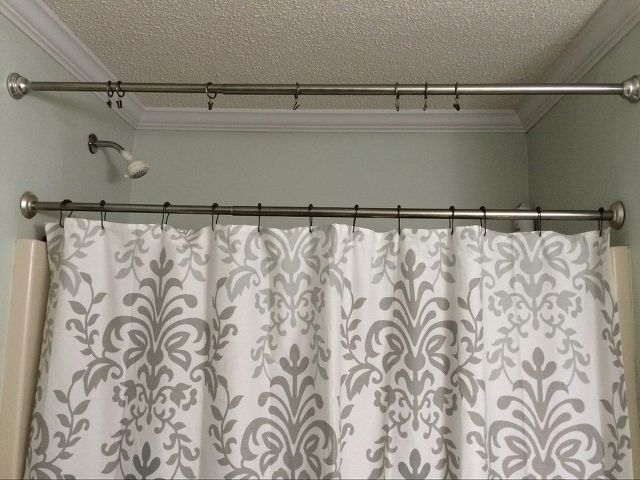 no sew shower curtain valance in no time, bathroom ideas, how to, reupholster, Second Tension Rod