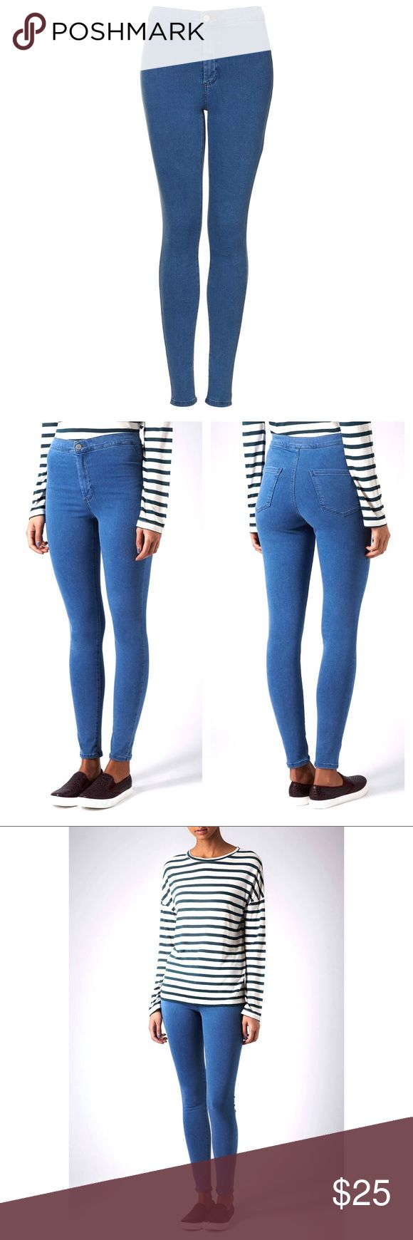 """TOPSHOP High Waisted Jeans * Topshop MOTO Mid Stone Wash Joni Jeans * Worn once * hip to ankle 37.5"""" - inseam approx 27.5"""" - waist approx 24"""" (high rise) * Ankle grazing - High Waisted Topshop Jeans Skinny"""