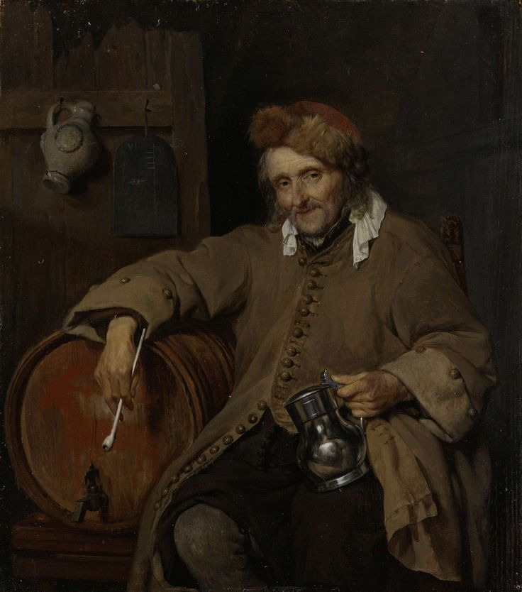 The Old Drinker, Gabriël Metsu, c. 1661 - c. 1663 oil on panel, h 22cm × w 19.5cm.   This is a very interesting piece of art work to me.  Its almost as if the painter dulled everything except the metal drinking cup.  It makes me think that is the only important thing to the old man.  I would not have had the same impression of the paining had the cup not been as lustrous as would have occurred if water paint had been used.
