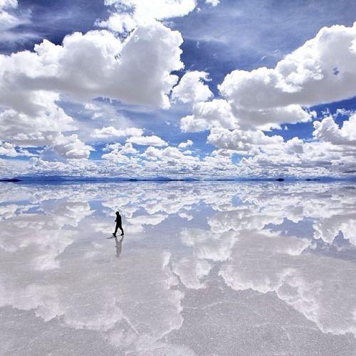 Walking on clouds ☁️ (Uyuni Salt Flats, Bolivia)