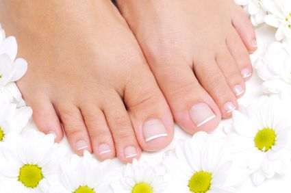 yellow nails?soak your feet in Listerine (if nothing else, your feet will smell great!)
