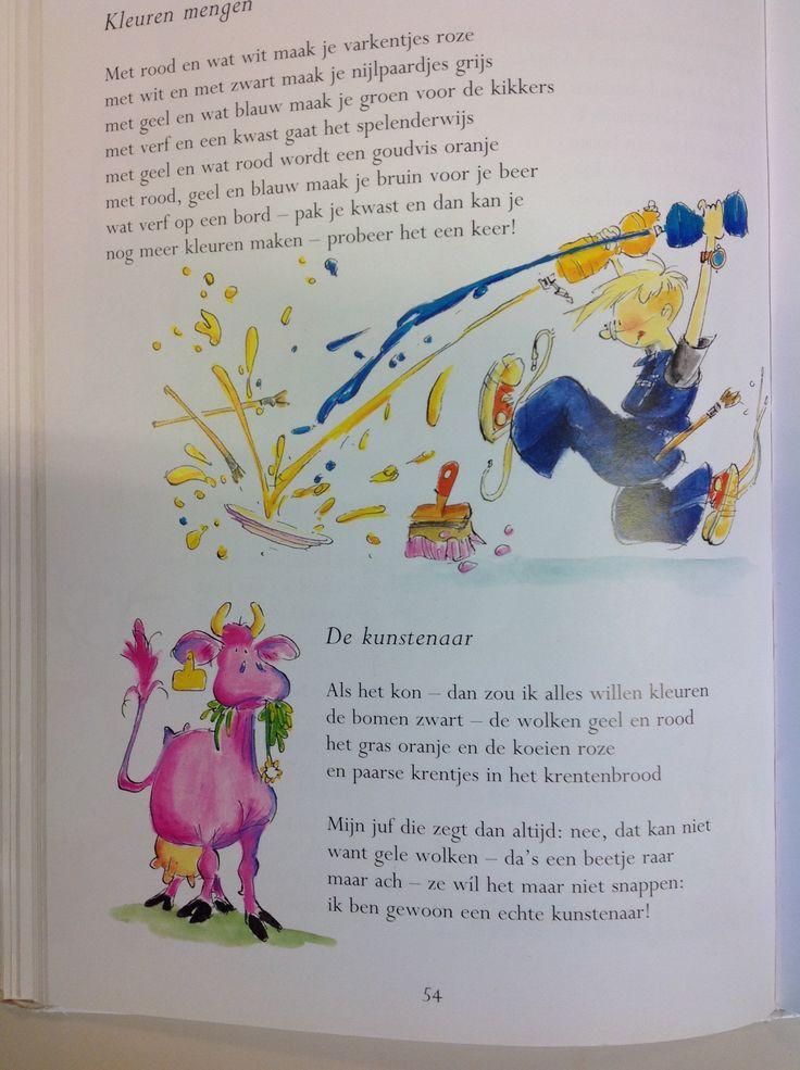 Versjes: Kleuren mengen/ De kunstenaar blz. 54 uit het grote versjesboek Marianne Busser/Ron Schröder