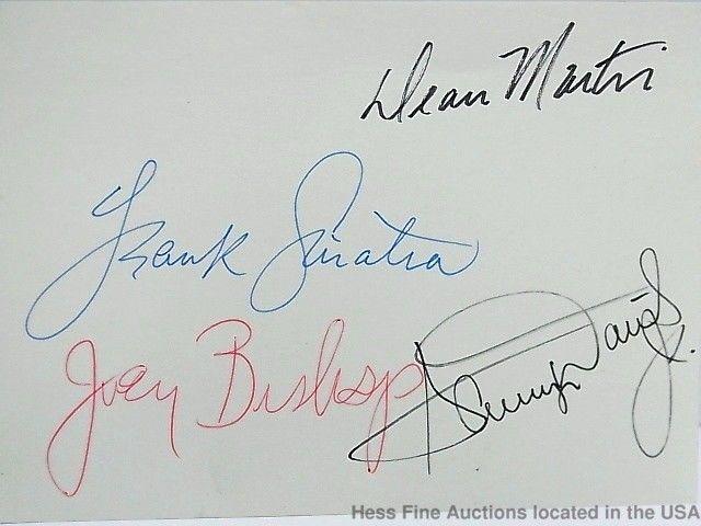 Frank Sinatra Sammy Davis Joey Bishop Dean Martin Scarce Rat Pack Autographs