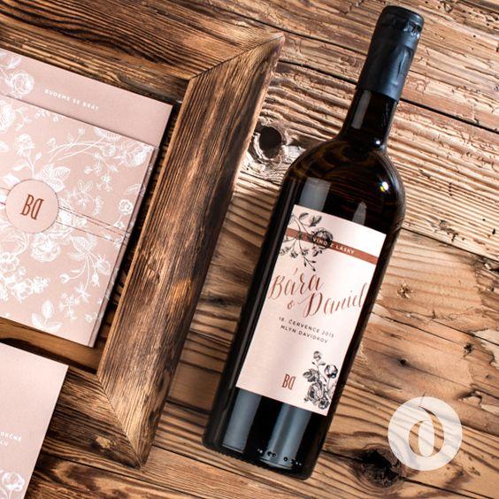 """Etiketa pro svatební """"Víno zlásky"""" / """"Wine of love"""" - wedding wine label"""
