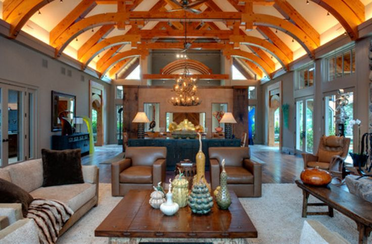Uplighting perimeter of vaulted ceiling with beams xned for Living room uplighting