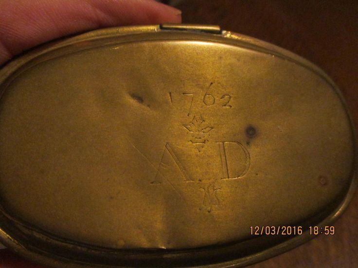"1762 Antique Dutch Brass Snuff Tobacco Tin With ""ad"" Monogram"
