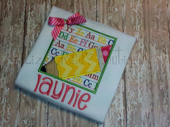 Back to School applique shirt Back to School by Lizzyraesboutique, $24.00