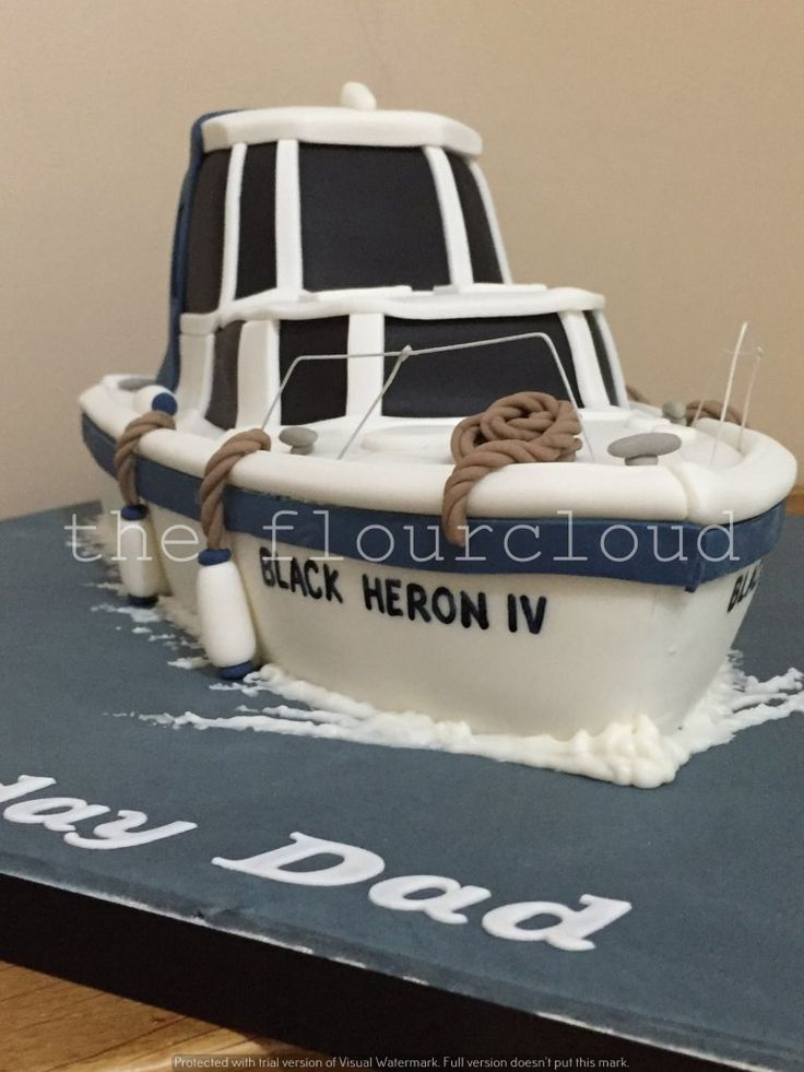 A speed boat birthday cake. Created as an exact replica from photographs of this persons actual boat.