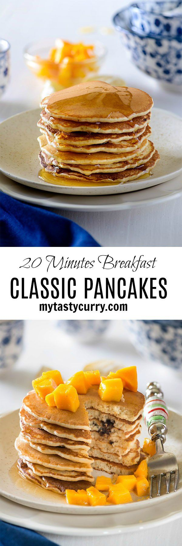 Fluffy pancake for breakfast in 20 minutes, an easy delicious homemade fluffy pancake recipe made with simple ingredients. Almost fail proof recipe of pancakes that gives perfect stack of pancakes if you follow the exact proportions of ingredients.