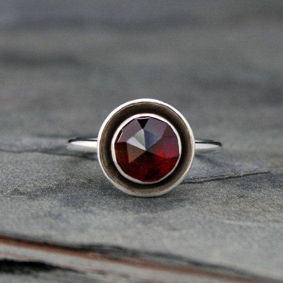 Rose Cut Garnet Halo Ring Sterling Silver Deep door KiraFerrer
