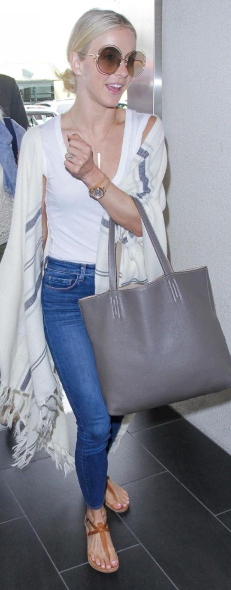Julianne Hough wearing FRAMe WORK, K Jacques St Tropez, Age and Chloé