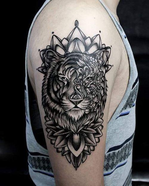 ea6d759359dc7 50 Stunning Tiger Head Tattoo Design Ideas (2019)   Tattoos   Lion ...