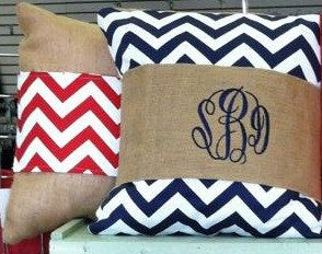 @powerscattle Monogrammed Burlap Pillow Wrap by SassyBlossom on Etsy, $21.00