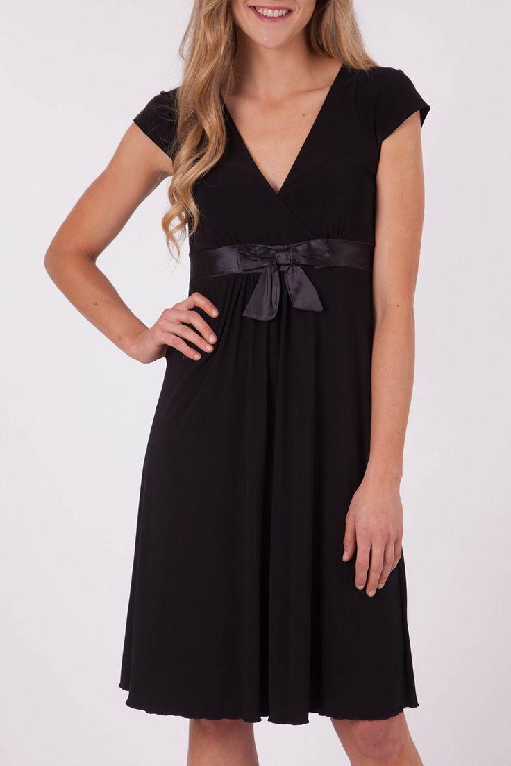 Y Bow Satin Trim Dress - Womens Knee Length Dresses - Birdsnest Fashion Clothing