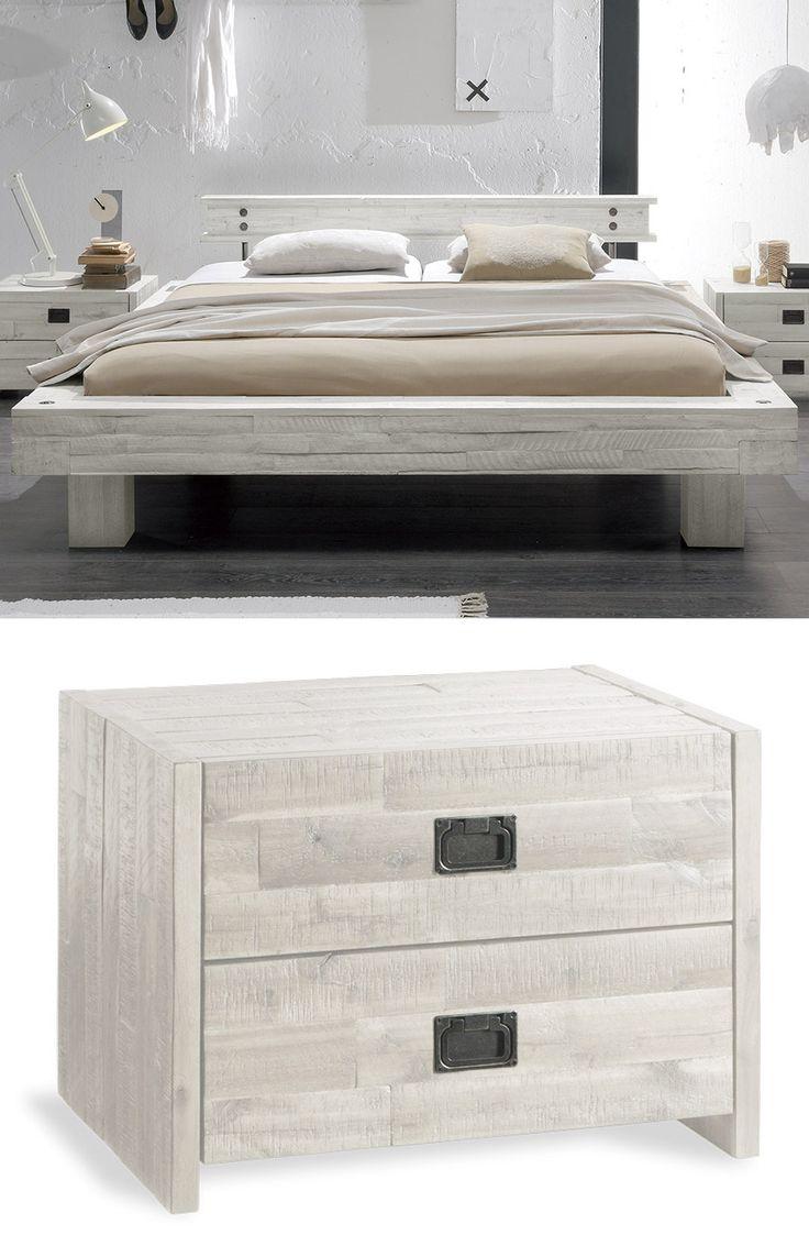 Modernes massivholzbett buena im rustikalen industrial style verleihen sie ihrem schlafzimmer den aktuellsten
