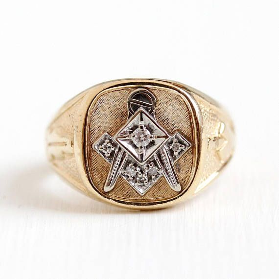 Handsome Vintage Mens 10k Rosy Yellow And White Gold Masonic Genuine Diamond Signet Ring There Is A White Gol Antique Mens Jewelry Masonic Ring Antique Locket