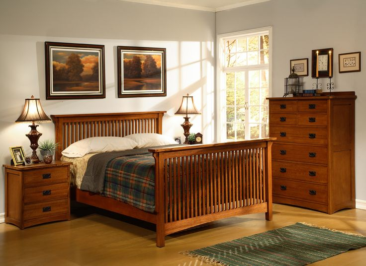 Home furniture store american craftsman slatted bedroom for Bedroom ideas oak bed