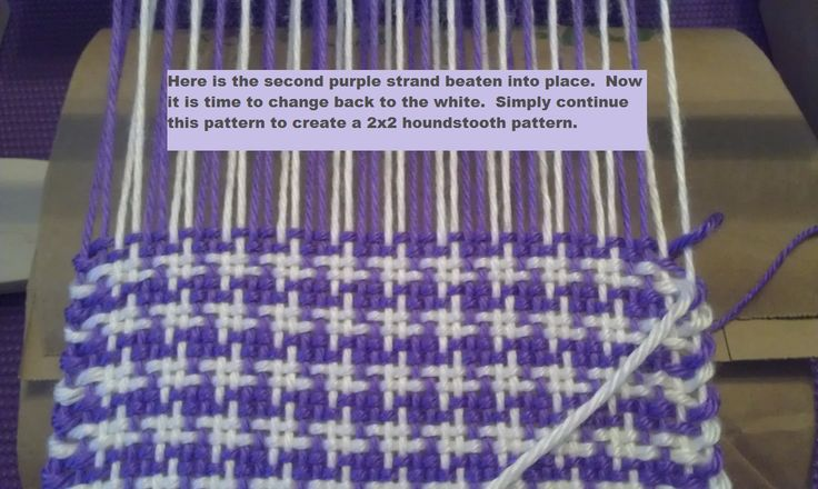 Learn how to weave a simple pattern that packs a BIG punch! Houndstooth is one of the most classic patterns for fabrics. Whether on a scarf, coat, skirt, purse, chair, blanket, or umbrella, the hou...