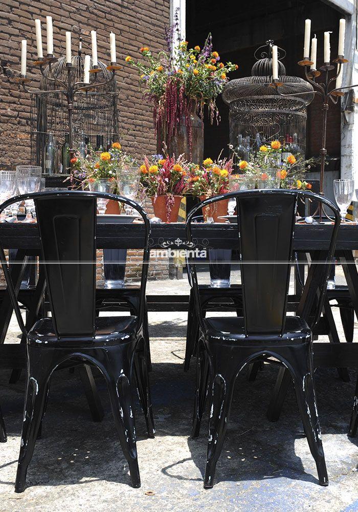 Comedor sillas industrial negras mesa banquete negra for Mesa comedor negra