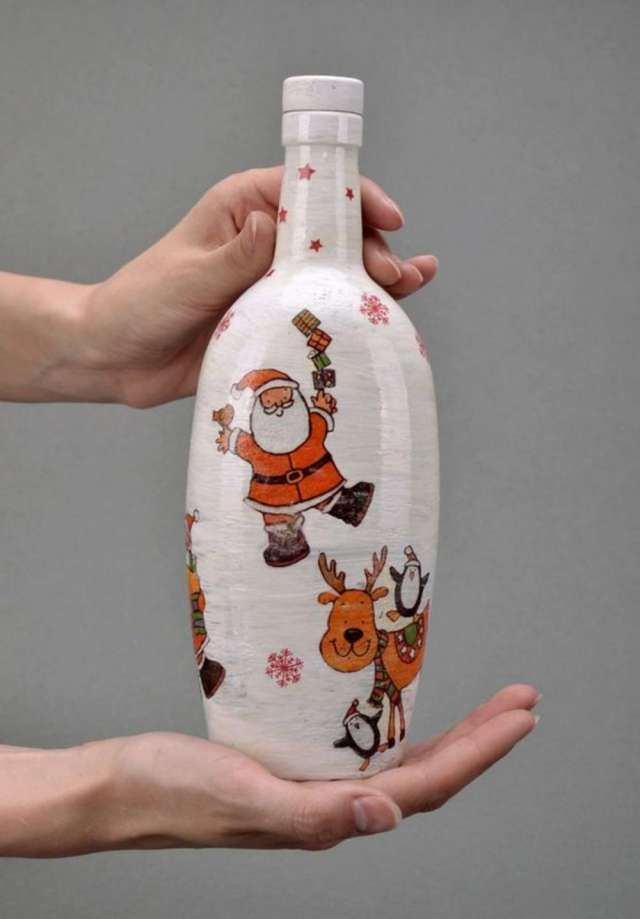 Best 25 botellas decoradas para navidad ideas on - Botellas de vino decoradas para navidad ...