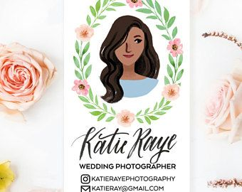 Custom Illustrated Personalized Business Cards with Floral Wreath - Printable DIY - (Digital File Only)