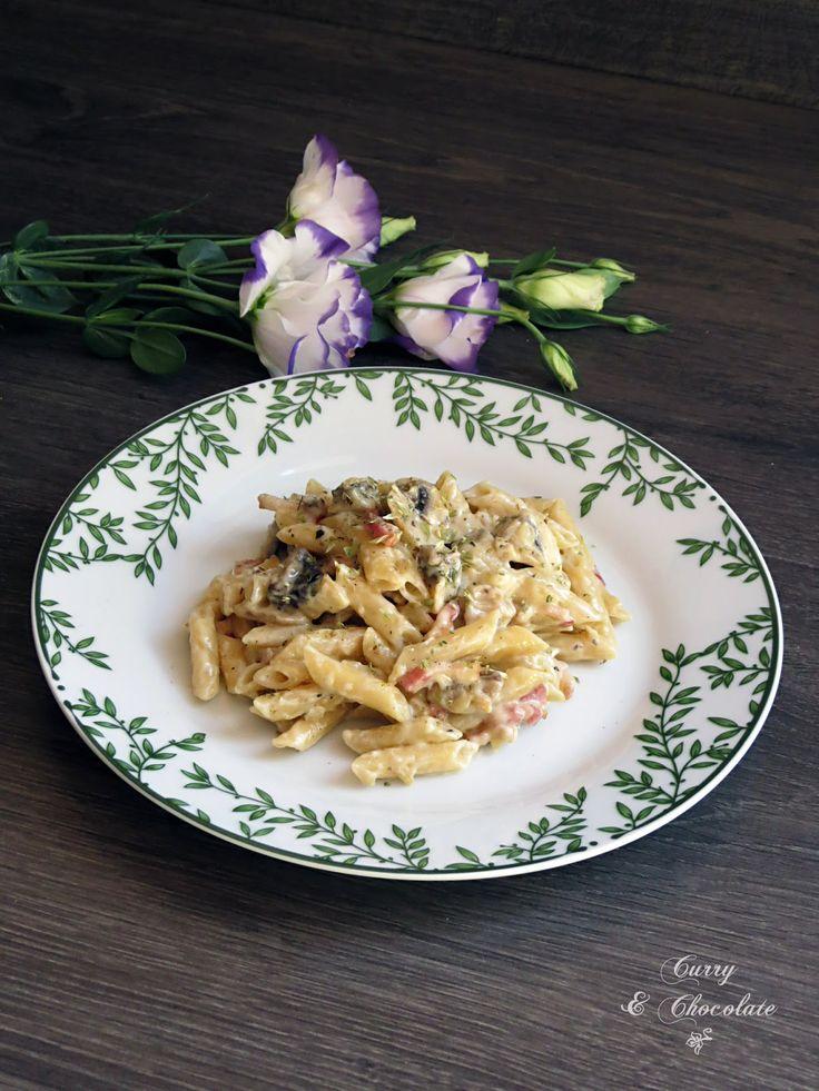 Macarrones con champiñones y panceta  – Bacon and mushroom pasta