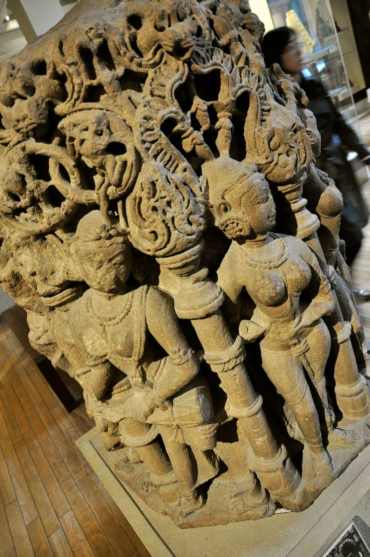Column base Gujarat, Western India 11th century AD This stone base, carved with a series of dancing female figures, would have supported a temple column.