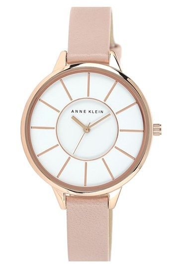 Anne Klein Round Slim Leather Strap Watch, 38mm available at #Nordstrom $65