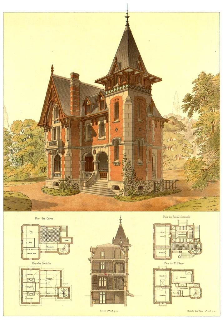 Architectural drawings of neo gothic house home House architecture design online