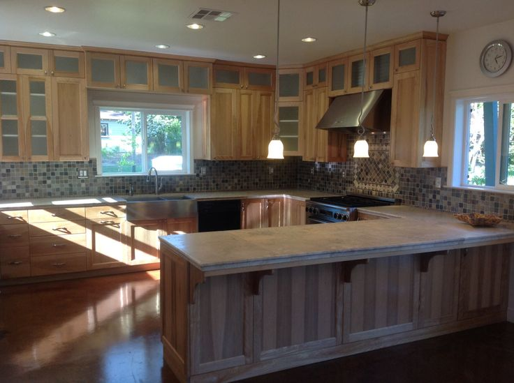 Kitchen Island Beadboard Stained Concrete Flooring Throughout This Beautiful Home