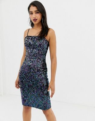 edec055a35d0 Lipsy sequin cami dress with square neck in black in 2019 | Prom '19 ...