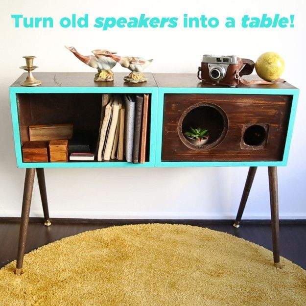 Upcycle Old Speakers Into A Stylish Table With This Mod Diy Stylish Tables Home Diy Interior Design Diy