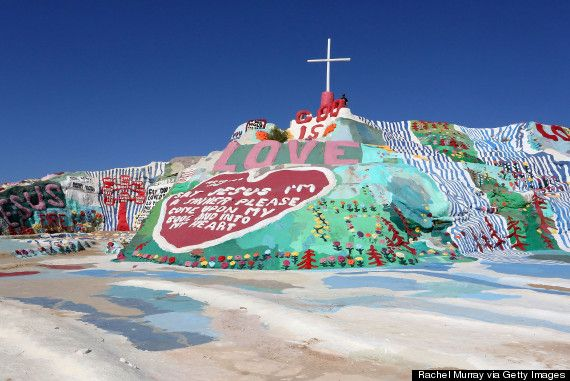 Day Trip from San Diego: Salvation Mountain is an extraordinary art mecca that was created by the late Leonard Knight. The mountain preaches a central message of love and is a groovy escape if you're looking to get out of Palm Springs for a few hours.
