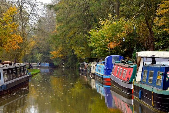 Narrow Boats Tranquil Oxford Canal Autumn by JenWatsonPhotography, $6.00