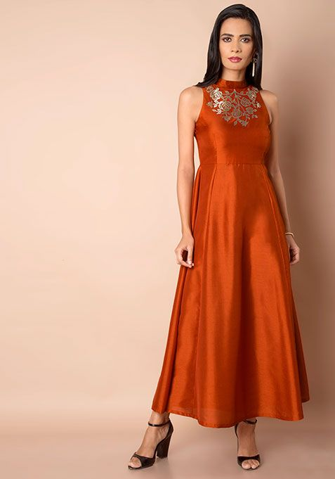 efd59a397a134 Rust Embellished Silk Maxi Tunic  Fashion  FabAlley  Tunic  WeddingWear   Marriage  Indya  Trending